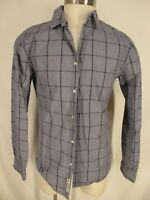 Superdry Mens Grey Windowpane Long Sleeve Cotton Shirt L