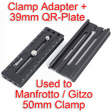 Clamp Adapter+RRS Arca-Swiss Fit Quick Release Plate for Manfrotto Gitzo 3D Head