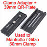 Adapter+ Arca-Swiss Fit Quick Release Plate for Manfrotto Gitzo Tripod Gear Head