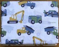CONSTRUCTION Tractor FULL SHEET SET kids Backhoe Dump Truck Bulldozer BLUE GREEN