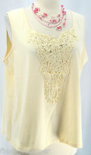 Maurada NEW Ladies Ivory Sleeveless Tank Top Soutache V Neck cami shell shirt L