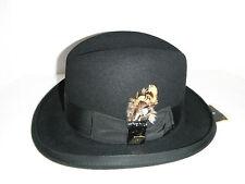 furfelt STACY ADAMS godfather style HOMBURG HAT Black FUR FELT SIZE extra small