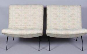 Pair (2) Milo Baughman Thayer Cogging Iron Scoop Lounge Chairs Midcentury Mo