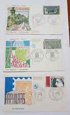 3 Buste Francobolli Parigi ART et PHILATELIE 1° emiss sequenza mar-apr-mag 1975