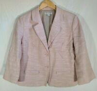 Women's Pendleton 3/4 Sleeve Button Up Blazer Size 14 Khaki Pink Plaid