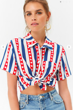 American Flag Stars Stripes Print Collared Short Sleeve Crop Top Blouse NWT S