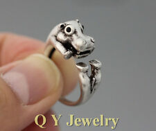 Lovely Hippo Adjustable Fashion Women Silver Lucky Jewelry Hippopotamus Ring