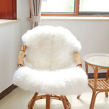 White Soft Sheepskin Rug Chair Cover Pad Skin Warm Carpet Plain Faux Fur Room IL