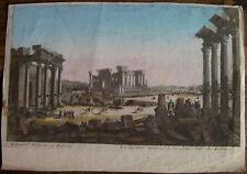 Gravure aquarellée XVIIIème sur vergé vue de Palmyre etching engraving stampa