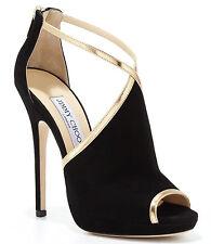 BRAND NEW Jimmy Choo Fey Peep-Toe Suede Sandal, Black/Gold Size 37.5 US 7.5