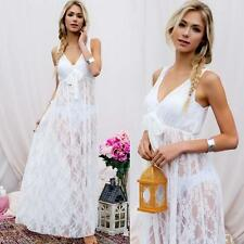 Elegant & Sexy White & Ivory Bridal Lace Lingerie Gown or Sexy Beach Cover Up