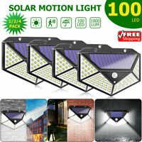100 LED PIR Motion Sensor Solar Power Wall Lights Waterproof Outdoor Garden Lamp