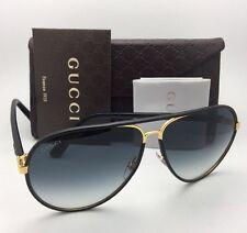 New GUCCI Sunglasses GG 2887/S UZAJJ Black Leather & Gold Frames w/ Grey Lenses