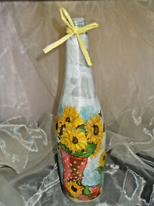 1 Lichtflasche Sonnenblumen Roter Gummistiefel LED Lichterkette Dekoflasche