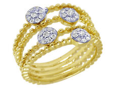 Ladies 14K Yellow Gold Openwork Real Diamond Flower Cluster Bead Ring 0.3CT