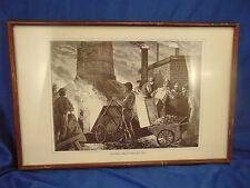 Industrial Factory framed print Loading a Blast Furnace 1873 artist JP Davis Art