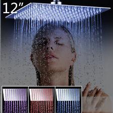Ceiling Mounted LED Slim Thin Shower Head Bathroom Faucet Mixer Tap Set Rainfall