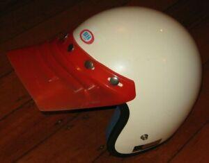 BH Line Motorcyle Helmet + Visor - Made In Japan - White - VGC - Vintage - Retro