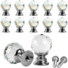 Diamond Clear Crystal Glass Door Pull Drawer Knob Handle Cabinet Furniture