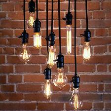 Retro Industrial Drop Hanging Edison Light Holder Pendant Lamp Wire Bulb Socket
