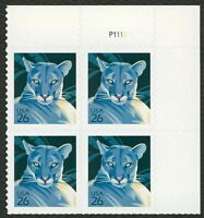 #4139 26c Florida Panther, Plate Block [P1111 UR], Mint **ANY 4=FREE SHIPPING**