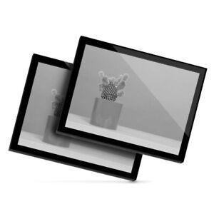 2x Glass Placemats 20x25 cm - BW - Cactus Plant Plant Pot Design  #42644