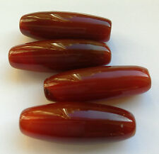 4 Fine Natural Colour Long Oval Carnelian Gemstone Beads. 30 mm Jewellery Making