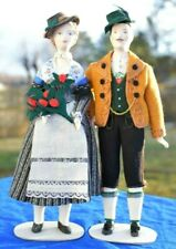 """Russian Dolls Pair of 11"""" Tall Elegant Man & Woman Collectible Cloth Doll Russia"""