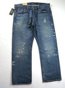 POLO RALPH LAUREN Men's Classic Fit Straight Leg Paint Splatter Blue Jeans NWT
