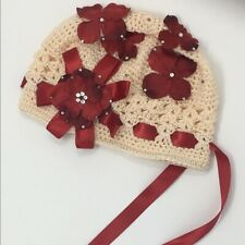 Handmade Baby Girl Hat Ivory 0-6 Months Red Flowers & Ribbon Ties Crystal Bling