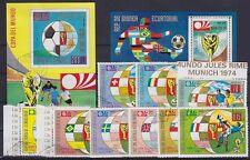 Fußball WM München 1974 Sammlung, 2x Block u. Einzelmarken, gest., Soccer