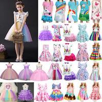 Unicorn Girls Tutu Dresses Rainbow Princess Kids Birthday Party Casual Dress Top