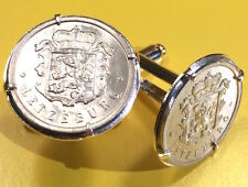 Luxembourg Crowned Lion Unique Vintage Silver Tone Coin Cufflinks + Gift Box