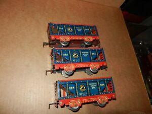 3 MARX #554 NP Hopper Cars, Red Litho Frames, 6 inch, 4 Wheel,  Original