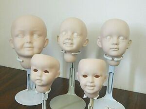 Lot of 5 Unpainted Porcelain/Bisque Doll Socket Heads by Artist Donna Wilcox