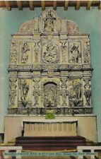 Old Postcard - Reredos Carved Alter in El Cristo Rey Santa Fe NM