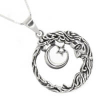 Celestial Sterling Silver Jewellery: Oxidised Man in the Moon and Star Pendan...