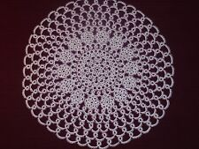 "Lace Tatted Doily -Tatting, 21"" White Tatted Doily- Round, Centerpiece, Handmade"