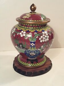 Antique Chinese Cloisonne Enamel Covered Vase Jar with Scholar's Eight Treasures