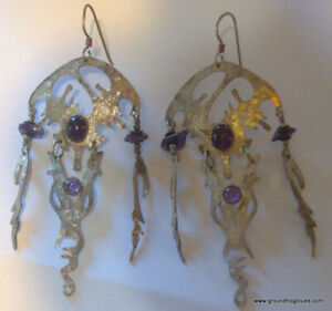 Artist Made Hammered SIlver AMethyst Very Large Earrings