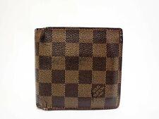 Authentic LOUIS VUITTON Damier Ebene Wallet Bi-fold N61675 Marco Men's Browns