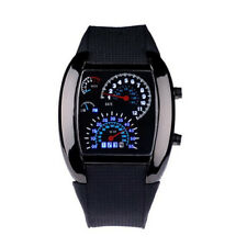 Fashion Aviation Turbo Dial Flash LED Watch Gift Men Lady Sports Car Meter Black
