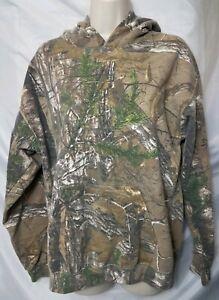 Realtree Men Medium 38/40 Camouflage Brown Long Sleeve Hunt Hoodie Pullover