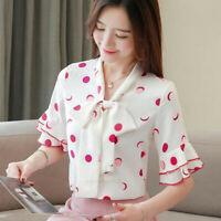 Fashion Korean Women Ladies Summer Bell Sleeve Bow Knot Chiffon Shirt Blouse Top