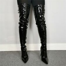 Women Faux Leather Over The Knee Boot Black Side Zip Pointed Stiletto Long Boots