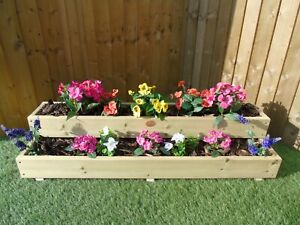 Two Tiered Garden Level Step Wooden REVERSE Decking Planter Trough - 2ft 3ft 4ft