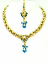 Indian Pendant Set Gold Necklace Earring Maang Tikka Bollywood Stone Jewellery
