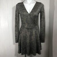 Guess Gold Black Metallic Knit Mini Dress Long Sleeve Small Skater Fit Flare