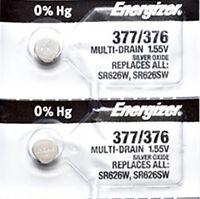 2 x Energizer 377 Watch Batteries, 0% MERCURY equivilate SR626SW