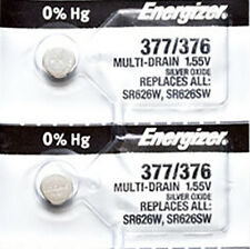 2 x Energizer 377 Watch Batteries, 0% MERCURY equivilate SR626SW